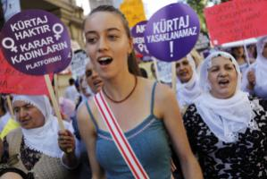 Protest against a law against abortion proposed by the AKP