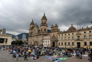 Displaced persons protesting on Plaza  de Bolívar in central Bogotá