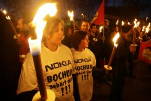 Protest against the closure of a Nokia factory in Bochum
