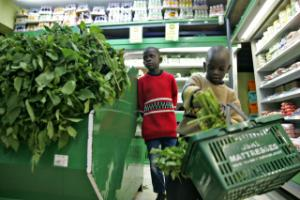 Traditional leafy vegetables in a Nairobi supermarket