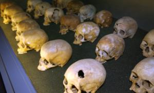 Skulls at the genocide memorial in Kigali