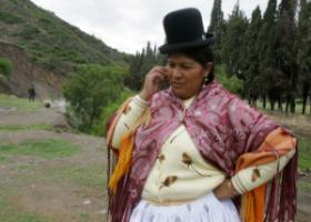 Bolivian politician on the phone.
