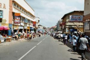 A business street in Accra