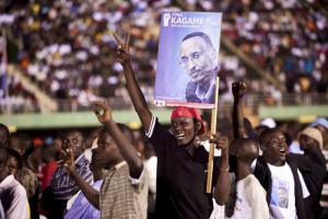 Supporters of President Kagame in Kigali in August