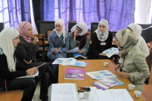 Hotaf Yassien IWRM student, right with members of the school club