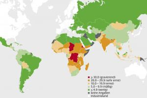 The world according to the most recent Global Hunger Index published by Welthungerhilfe, IFPRI and Concern Worldwide