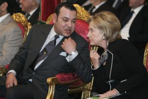 King Mohamed VI. of Morocco with US Secretary of State Hillary Clinton during the presentation of a solar project in Ouarzazate
