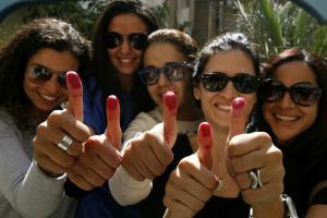 Egyptian women after the vote on constitutional changes