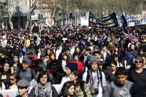 Rally of trade unions and students in Santiago de Chile in September