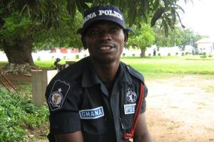 """Governance institutions have to deliver the services they are supposed to."" Police officer on guard during the High Level Forum on Aid Effectiveness in Accra in 2008"