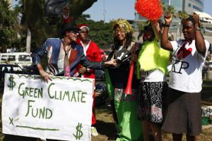 Sceptics have little trust in the Green Climate Fund: activists demonstrating in Durban during the UN climate summit last December