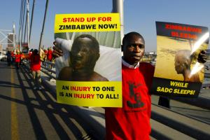 In South Africa, Zimbabwen migrants protested against election-related violence in their home country in 2008