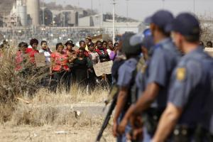 Protesting against police brutality in Marikana, South Africa, in August this year