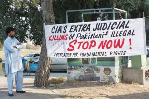 Protest banner in Islamabad