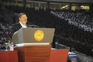 President Mursi addressing 75,000 in Cairo's International Stadium on 6 October