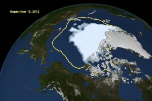 This NASA image shows the new record low for Arctic sea ice extent in September compared with the past 30 years' average minimum extent yellow line